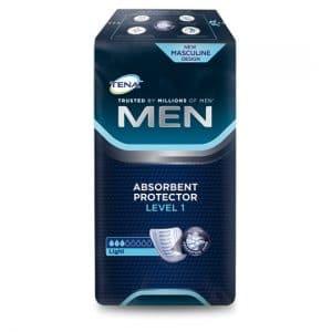 Inkontinenssisuoja Tena Men - Tena miehille Miehille kehitetty erittäin huomaamaton suoja lievään virtsankarkailuun. Suojaa käytetään vartalonmyötäisten alushousujen tai TENA Fix Hygieniahousujen tai TENA Fix Cotton Special Puuvillahousujen kanssa.