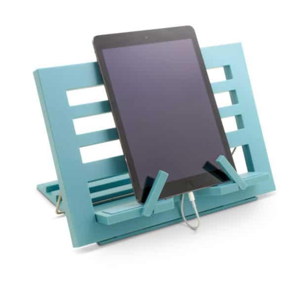 Kirjatuki Reading Rest tablettituki mainio apu tabletin käyttöön tai kirjan lukemiseen, väri vaaleansininen. Paditelineenä.