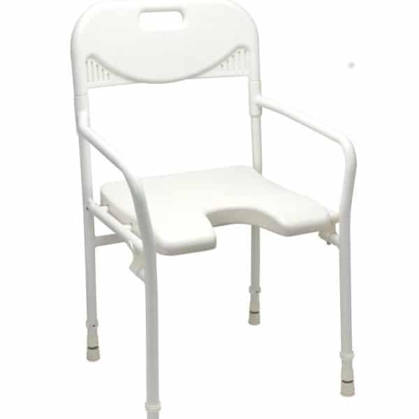 Pesutuoli, jossa käsi-ja selkänojat, tukeva istua pesun aikan, helppo nousta ylös käsinojien avulla
