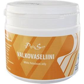 Puhdas valkovaseliini suojaa ihoa kuivumisen aiheuttamilta vaurioilta. Valkovaseliini 500 ml:n pakkauksessa.