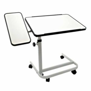 Apupöytä, jossa kaksi tasoa ja pyörät alla.