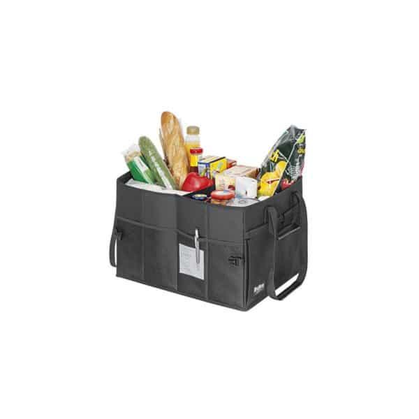 ostoslaukku, jossa useita lokeroita ja taskuja, kokoontaitettava