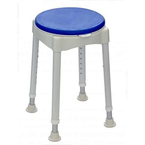 Suihkujakkara, jossa pyörivä istuinlevy. Helpottaa kääntymistä peseytymisen yhteydessä.