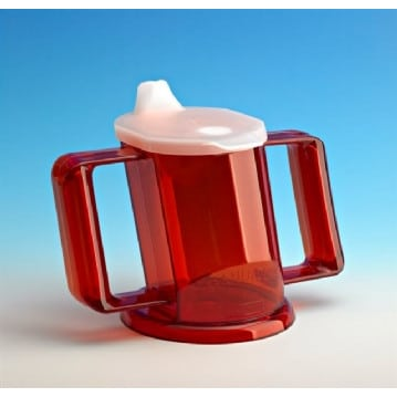 Handycup kallistettu kaksikahvainen muki. Väri punainen on hyvä myös muistisairaille.