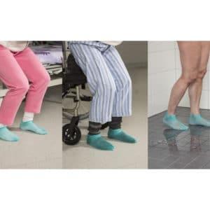 Pitosukka IGS, pehmeää kumia oleva verkkosukka, joka rullataan jalkaan, ehkäisee liukastumista suihkussa.