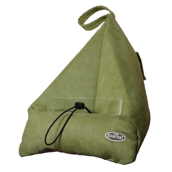 Kirjatyyny, kirjatuki, teline padille, Bookseat, väri oliivin vihreä. Rentoa lukemista, pädinkatselua vuoteessa tai sohvalla