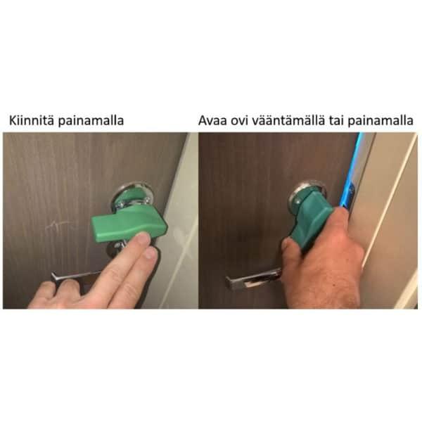 Vääntönuppiin asennettava apuväännin helpottaa oven avaamista.Apuväännin on yhteensopiva Rocan ja Abloyn moderneihin vääntönuppeihin. Kuvassa apuvääntimen toiminnan esittely.