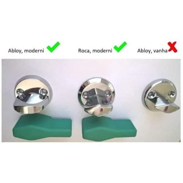 Vääntönuppiin asennettava apuväännin helpottaa oven avaamista.Apuväännin on yhteensopiva Rocan ja Abloyn moderneihin vääntönuppeihin. Kuvassa yhteensopivuuksien asittely.