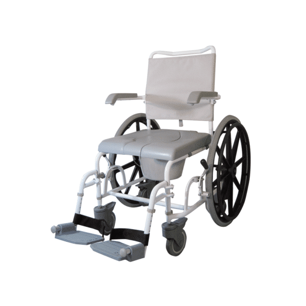 Suihkupyörätuoli, jossa rullatuolipotilaan on helpompi peseytyä.