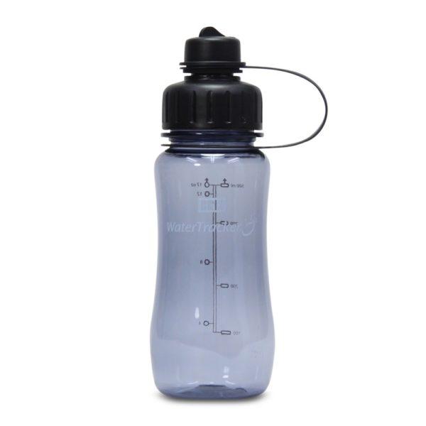 Juomapullo watertracker tyylikäs ja toimiva testivoittaja. Juomamäärän seuranta. Korkissa suodatinverkko. Harmaa 0,5l
