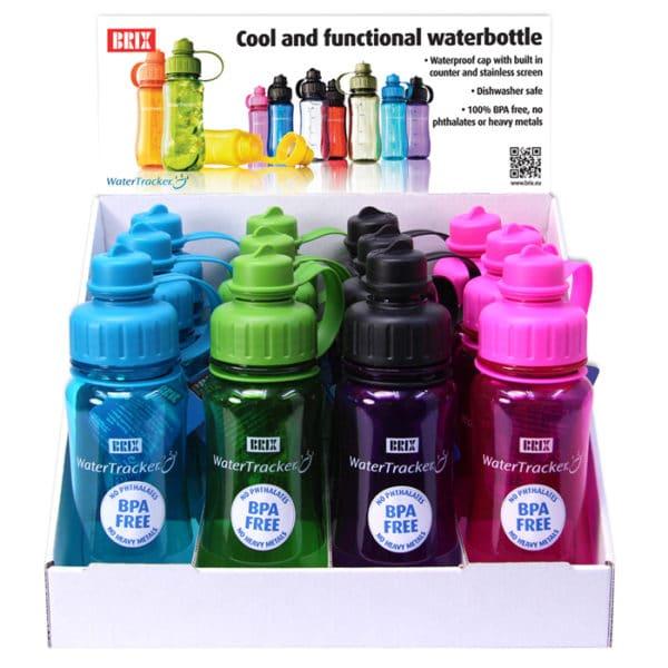 Juomapullo watertracker tyylikäs ja toimiva testivoittaja. Juomamäärän seuranta. Korkissa suodatinverkko. Herkulliset värit.