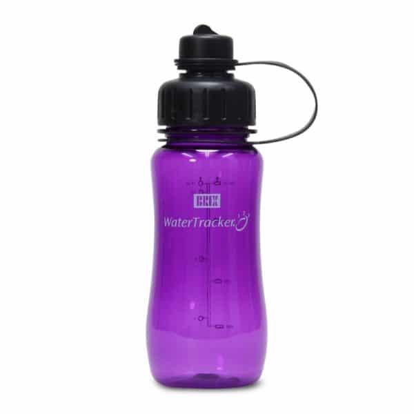Juomapullo watertracker tyylikäs ja toimiva testivoittaja. Juomamäärän seuranta. Korkissa suodatinverkko. Violetti 0,5l