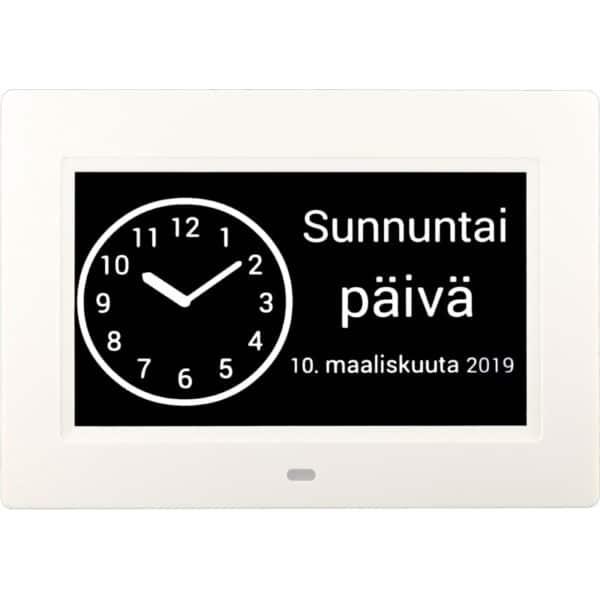 Muistin avuksi suomenkielinen kalenterikello vuorokaudet vaihdettu analoginen kellonäkymä.