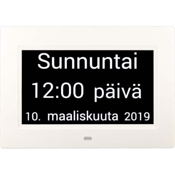 Muistin avuksi suomenkielinen kalenterikello digitaalinen kellonaika, päivä.