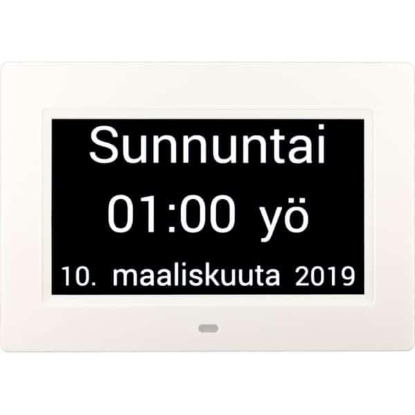Muistin avuksi suomenkielinen kalenterikello digitaalinen kellonaika, yö.