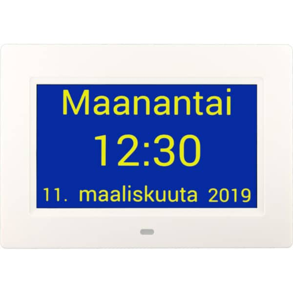 Muistin avuksi suomenkielinen kalenterikello digitaalinen kellonaika, vaihdettu sininen tausta..