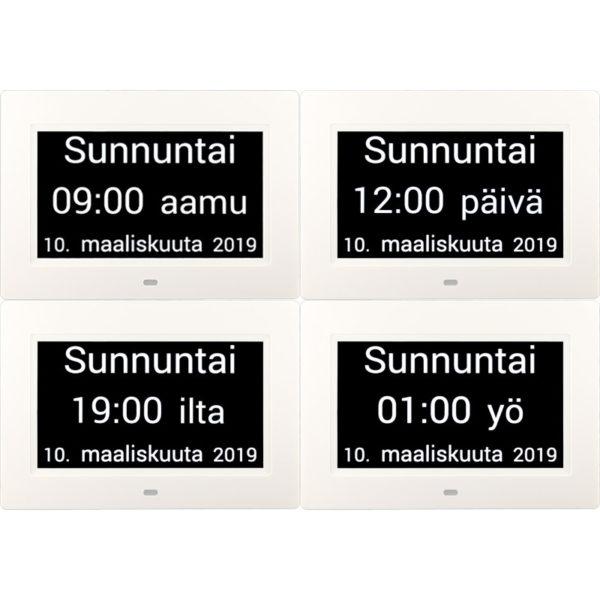Muistin avuksi suomenkielinen kalenterikello vuorokaudet. Kaikki vuorokauden ajat.