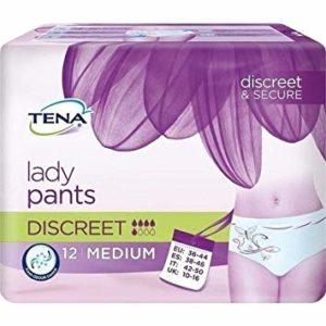 Inkohousut Tena Lady Pants Discreet, alushousuja lähellä oleva malli, jossaimukykyinen kiinteä vaippa.
