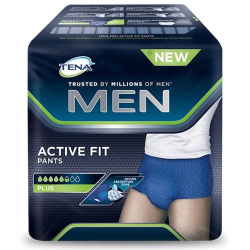 Inkohousut tena men activ fit pants, hyvinistuvat alushousut, joissa imukykyinen vaippa.