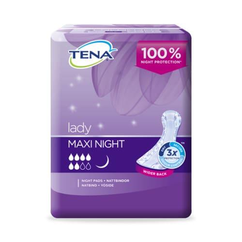 Inkontinenssisuoja Tena Lady Maxi Night pysyy hyvin paikoillaan nukuttaessa ja on erittäin imukykyinen.