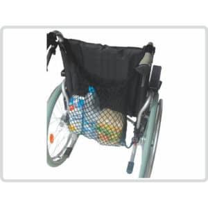 Ostoskassi, verkkokakssi pyörätuolin selän taakse.