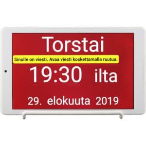 Suomenkielinen muistuttava kalenterikello. Kertoo viikonpäivän, kellonajan, vuorokauden ajan ja päivämäärän.. Lisäksi viestitoiminto.