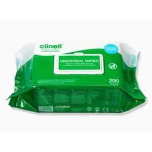 Desinfektiopyyhe Clinell Universal yleispyyhe 200 kpl. Kätevä pakkaus.