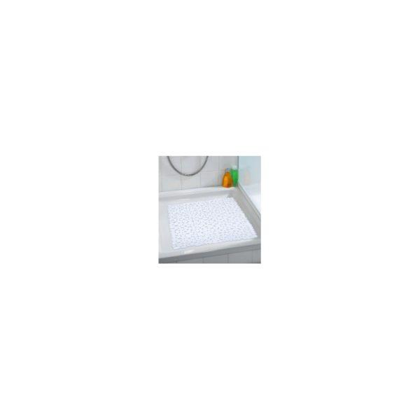 Suihkumatto Paradise, valkoinen muovimatto, jossa imukupit pohjassa.