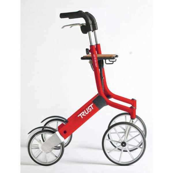Rollaattori kävelyteline Let's Go Out on suunniteltu erityisesti ulkokäyttöön, mutta keveytensä, ketteryytensä ja pienen kokonsa ansiosta se sopii erinomaisesti käytettäväksi myös sisätiloissa. Väri punainen