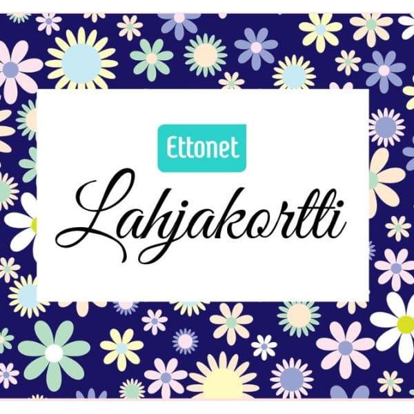 Siniset kukat teemalla lahjakortti Ettonet verkkokauppaan.