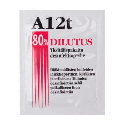 Desinfektiopyyhe 80% alkoholi Dilutus A12t yksittäispakattu on kätevä pitää mukana, missä liikutkin.