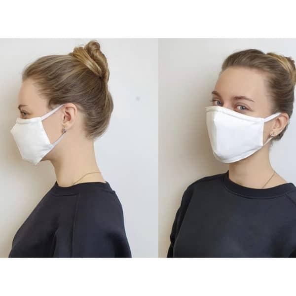 Kasvomaski. kangasta, korvalenkit, 3-kerrosta kangasta, suojaa bakteereilta, kun pidetään suun ja nenän edessä.