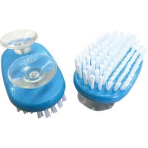 Käsi- ja kynsiharja imukupeilla. Käsi- ja kynsiharja, jonka asentamiseen pohjassa 2 imukuppia. Voidaan käyttää käsien tai jalkojen pesuun