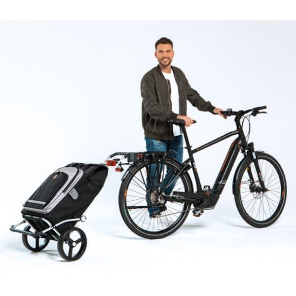 Ostoskärry Andersen Royal Shopper polkupyörään kiinnitettynä