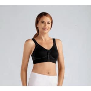 Urheilurintaliivit Esther Soft Bra proteesitaskuilla. edestä hakasilla kiinnitettävät rintaliivit, joita voidaan käyttää myös rintaproteesin kanssa.