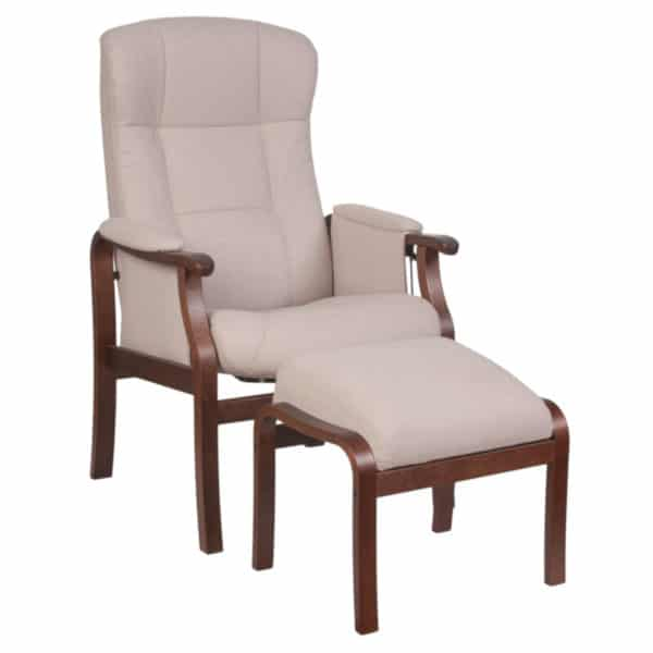 Nojatuoli Kippis nopea toimitus kangas Caldo 1 runko tumma tammi, rahi kuvassa. Hyvä nojatuoli seniorille.