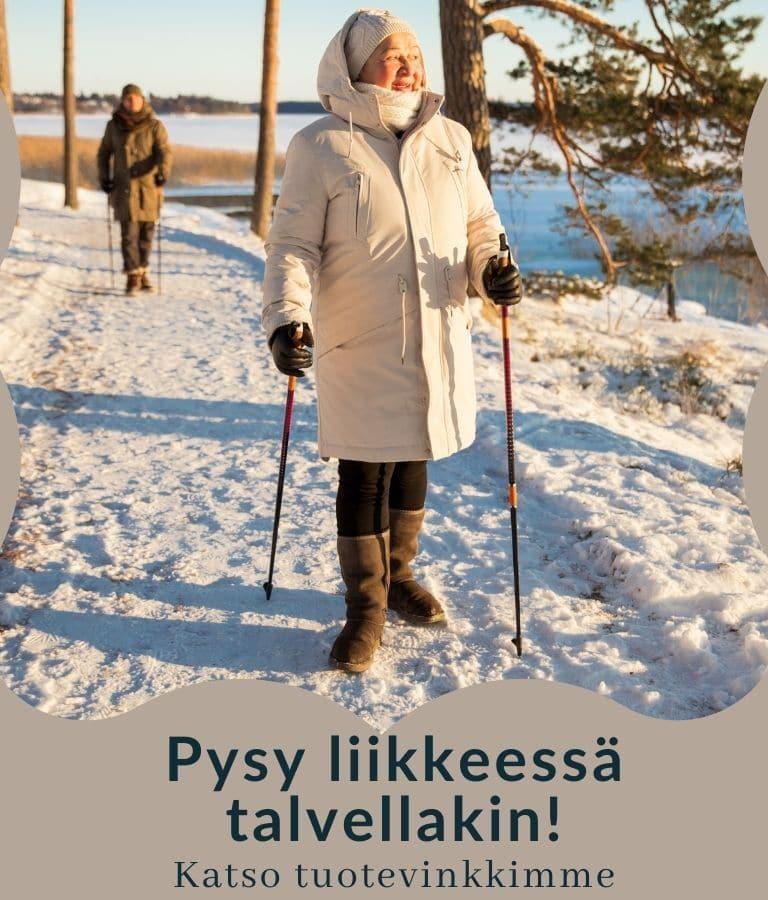 Hyvinvoinnin apuvälineet seniorin turvalliseen liikkumiseen talvella.
