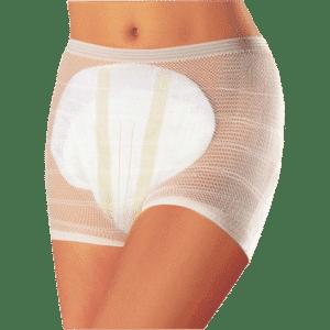 Verkkohousut Seni Fix Plus sairaala-alushousut. Läpinäkyvää valkoista verkkokangasta olevat housut, jotka pitävät vaipan paikoillaan.