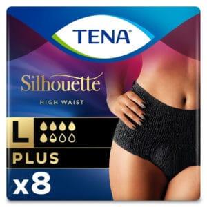 Inkohousut Tena Silhouette Plus Pants musta korkeavyötärö. Tena Silhouette Plus Pants suojaavat alushousut ovat elegantin mustat ja suojaavat tehokkaasti keskivaikealta ja vaikealta virtsankarkailulta.